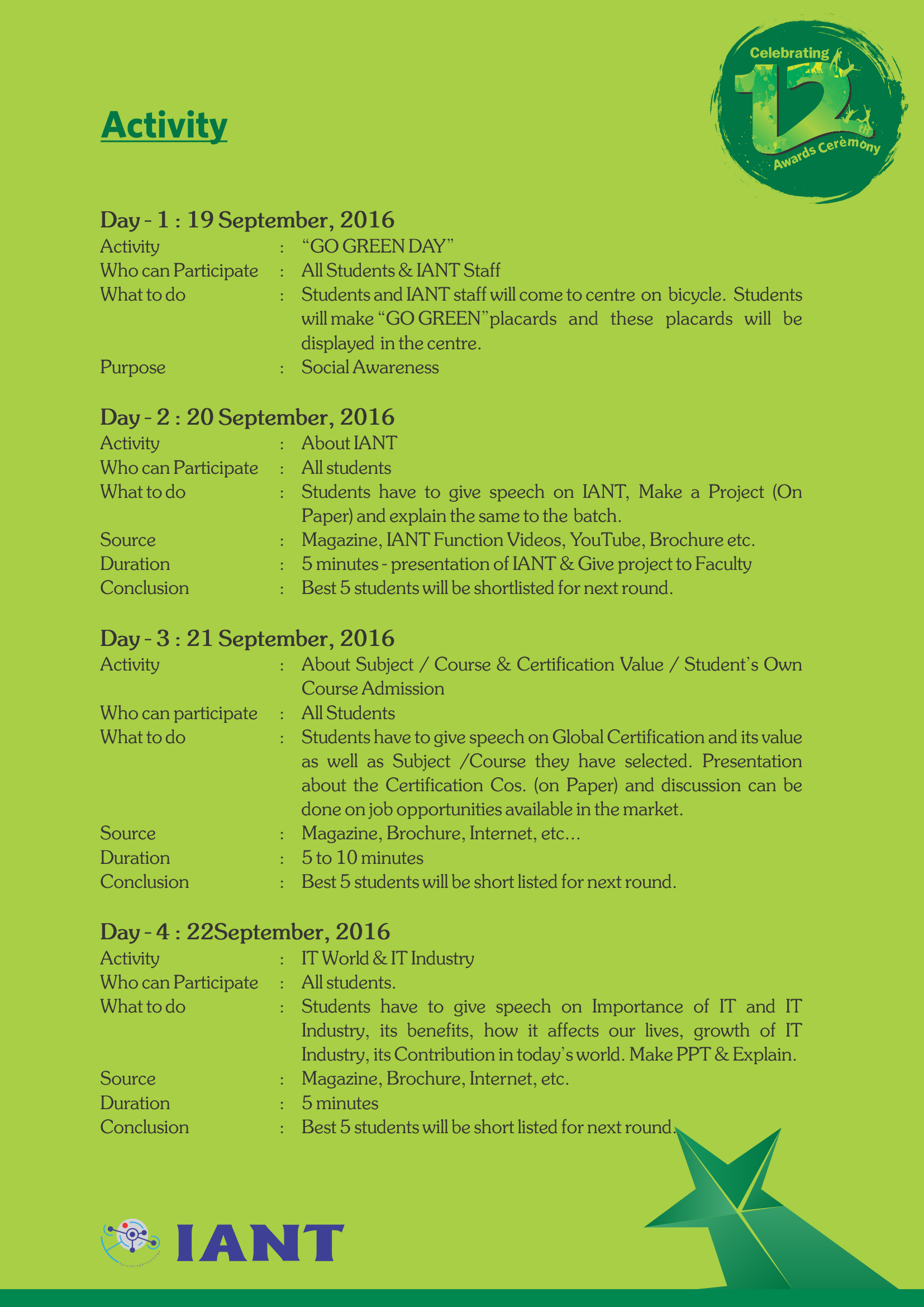 IANT Center Activites & Competitions